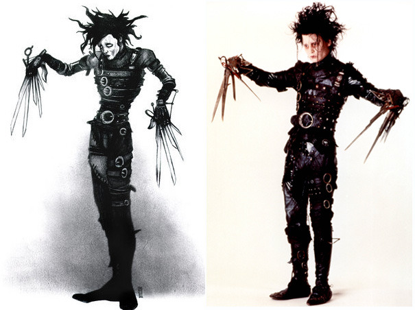 suicideblonde:  Tim Burton's concept art for Edward Scissorhands | Johnny Depp as Edward Scissorhands