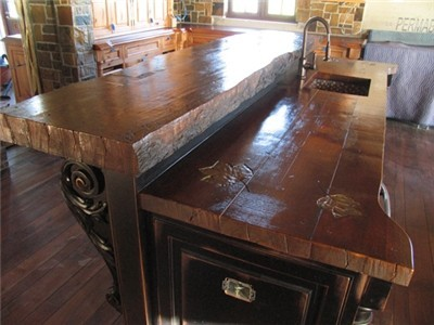 Old oak breakfast bar