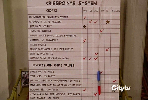 "Liz's ""Criss Point"" System on 30 Rock. Referring to me as Khaleesi Liz will wear silk undertrunks"