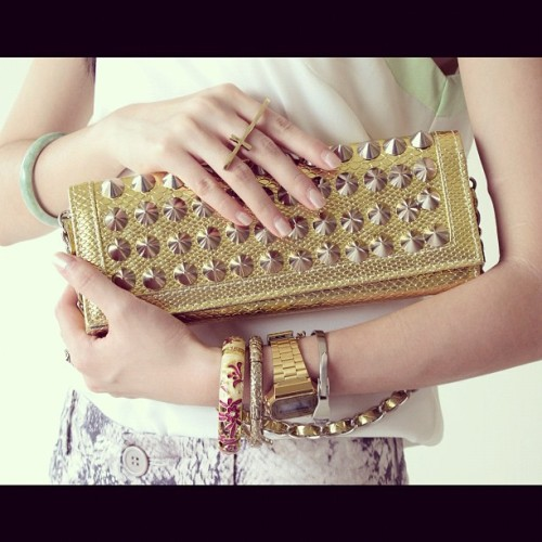Accessories overload! Featuring the $16 clutch, Casio watch and jade bangle. Read my #blog for full #ootd! #fashion #studs #armparty #accessories (Taken with instagram)
