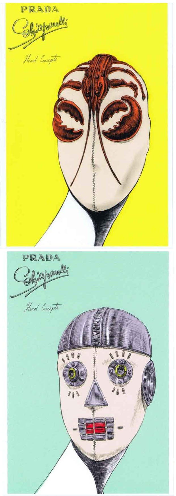 "curieuxdetrucs.com SCHIAPARELLI & PRADA - Impossible Conversations Cartes postales à la boutique du MET Although separated by time, Miuccia Prada and Elsa Schiaparelli—both Italian, both feminists—share striking affinities in terms of their design strategies and fashion manifestoes. Presented as an intimate ""conversation,"" Schiaparelli and Prada: Impossible Conversations aims to tease out formal and conceptual similarities between the two designers. The book itself is an objet d'art, a ""book within a book"" that reflects the conceptual and inventive nature of their creations."