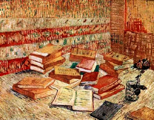 worldpaintings:  Vincent Van Gogh Still Life with French Novels and a Rose, 1887, oil on canvas, 73 x 98 cm, private collection.