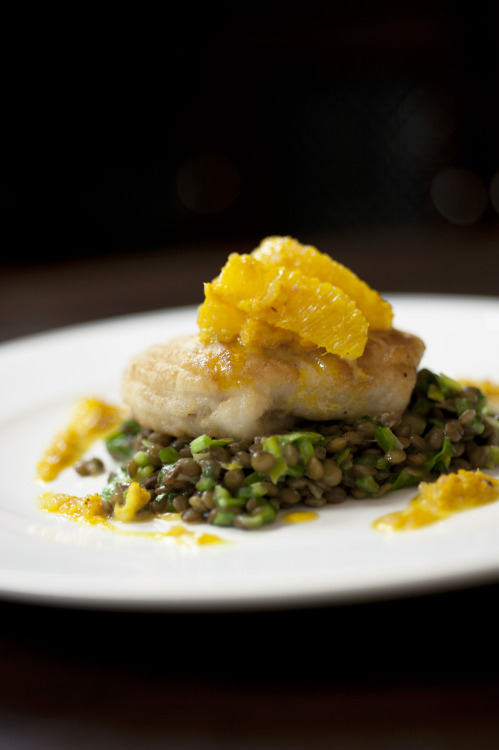 Sauteed Skate with sorrel and lentil salad,  and orange cider sauce