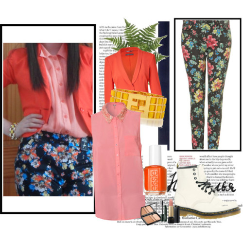 Orange by jessicabrennan featuring an essie nail polishChiffon blouse, £22Alberta Ferretti fitted blazer, $1,290Topshop tall jeans, $90Dr. Martens lace up booties, $142Fendi cuff bangle, €256Essie nail polish, $8Guerlain face makeup, £44Lancôme lipstick, $30Clinique mascara, £14Nearly Natural 6535 Forest Fern Permanent Plant - Decor Universe, $47