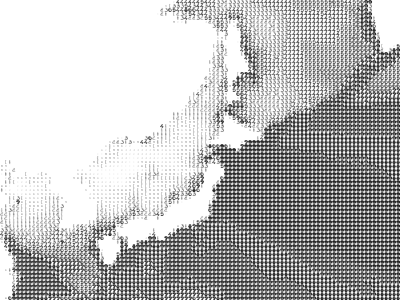 "Tohoku tsunami wave height (predicted)  via FatFonts (via) font designed so that the ""amount of dark pixels in a numerical character is proportional to the number it represents"" for visualization"