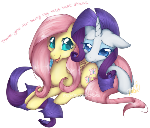 My half of an art trade with Kohtek <3She requested Fluttershy and Rarity cuddling, with Fluttershy thanking Rarity for their friendship.In exchange, she drew me this! [link]I hope you all like it. ♥   [Re-posted from [link] ]