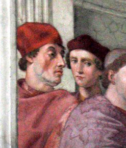 Detail from The Cardinal And Theological Virtues by Raphael (1511)akaActor, writer, director, Sylvester Stallone (July 6, 1946 - Present) suggested by… everyone after the likeness was reported in several British newspapers today.