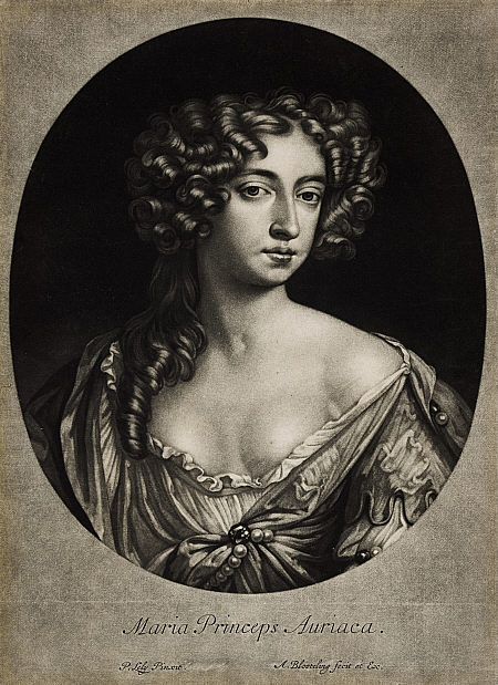 thestuartkings:  Mary II, 1662 - 1694. Reigned jointly with William III, 1688 - 1694 After 1677 Mary II was the eldest daughter of the future James VII and II and his first wife, Anne Hyde. This beautiful mezzotint by Abraham Blooteling was printed after her marriage to William of Orange in 1677, as it includes her title as Princess of Orange inscribed in Latin. Lely's portrait, which this print is a reproduction of, was painted around the time of her marriage and shows her sitting in a landscape, holding a posy of flowers. The scalloped hem of her sleeve, just visible on the right-hand side, is more obvious in the painted portrait and would indicate to a contemporary audience that Mary was playing a pastoral role, such as a shepherdess or nymph. These roles were made fashionable from popular plays and masques, and deemed suitable for the depiction of young brides in portraits.
