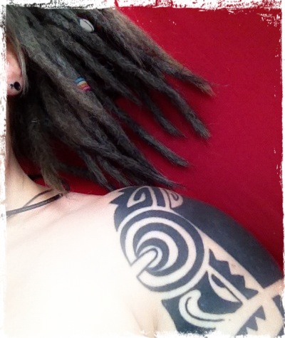 Me, May 2012. Dreads & Tatts.