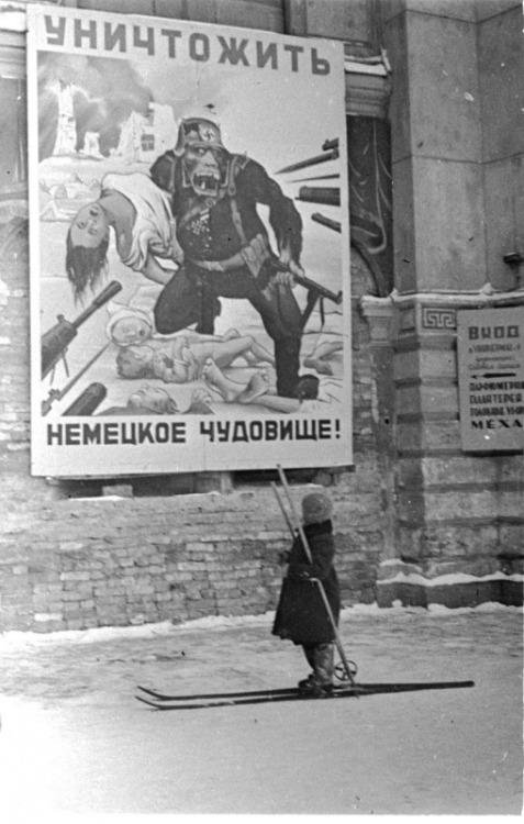 "A scene of the Leningrad siege ""Killing the German beast""."