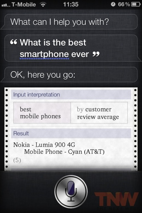 thenextweb:  (via Apple's Siri: Nokia Lumia 900 Is The Best Smartphone Ever)