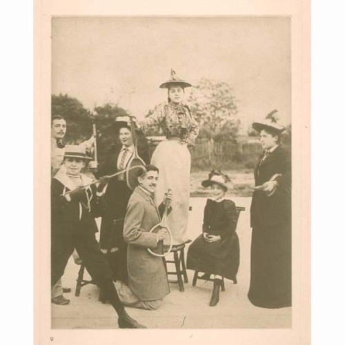 libraryjournal:  Marcel Proust playing air guitar on a tennis racket.
