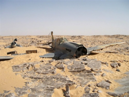 WWII fighter plane found 70 years after crashing in Sahara Desert  NBC News and MSNBC.com: A well-preserved fighter plane that crashed in Egypt's Sahara Desert during World War II has been found 70 years later, shedding new light on the pilot's struggle to survive. Photo: Jakub Perka via msnbc.com