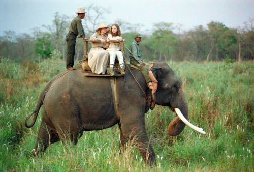 First Moms Hillary Rodham Clinton and Chelsea Clinton ride an elephant in the Chitwan National Forest, Nepal.  4/1/95 -from the Clinton Library Happy Mother's Day weekend!