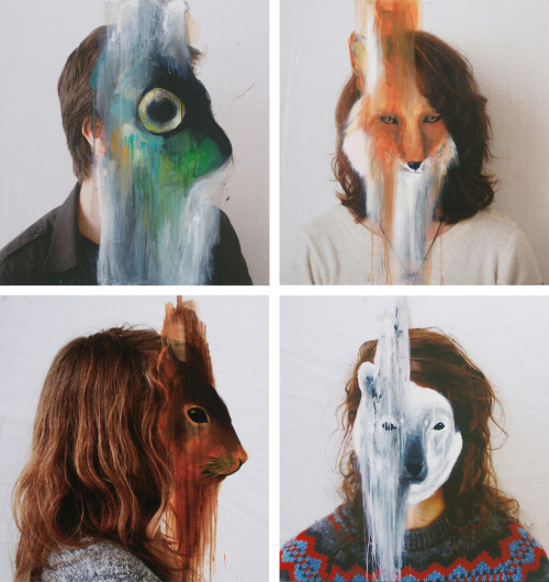 2headedsnake:  charlottecaron.fr Charlotte Caron (upper left) Sardine, 90x90cm, Acrylic on pulling up mounted on medium, 2011 (upper right) Fox, 90x90cm, Acrylic on pulling up mounted on medium, 2011    (lower left) Squirrel, 90x90cm, Acrylic on pulling up mounted on medium, 2011    (lower right) Polar Bear, 90x90cm, Acrylic on pulling up mounted on medium, 2011