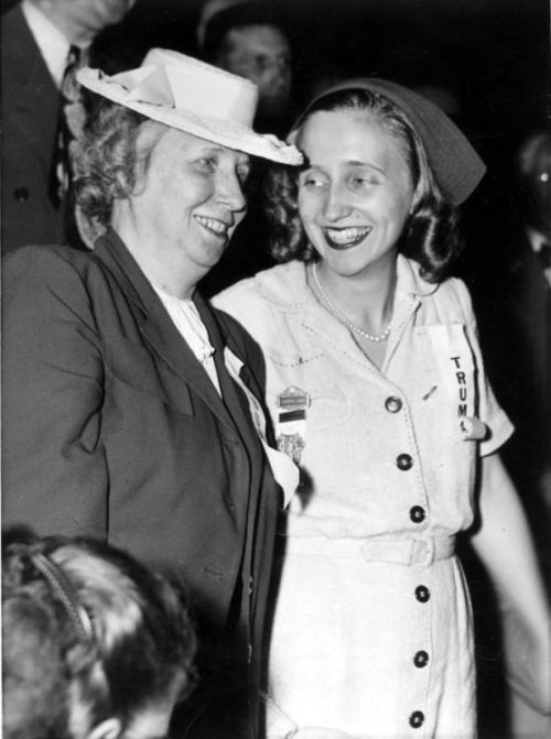 First Moms Bess and Margaret Truman at the Democratic National Convention in Chicago.  7/21/44 -from the Truman Library