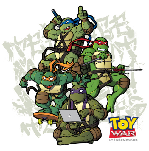 David Park illustration for ToyWar, the new BlogWar in Kame House.