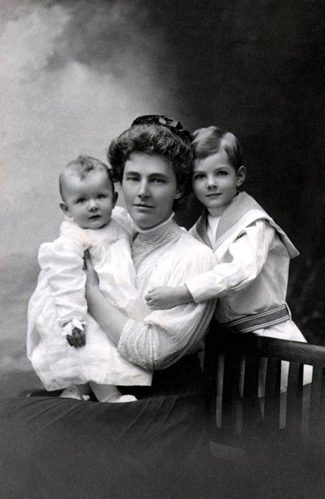 First Moms Lou Henry Hoover is a big history crush for us.  Ever a maverick, Lou was a tomboy, a scientist, and the first woman to major in geology at Stanford.  After she married Herbert Hoover, the two traveled to China, Burma, Japan, Egypt, Australia, and New Zealand. As a mother, Lou traveled the world with her young children.   After giving birth to their first son, Herbert Jr., in 1903, Lou was ready to travel within five weeks. The baby, a nurse, and the Hoovers left for Australia with baby Herbert in a traveling basket.  By the time Herbert Jr. was one year old, he had been around the world twice. Here is portrait Lou Hoover with Allan and Herbert Jr. in London, England, 1908. Happy Mother's Day to all the moms out there.  And thanks for the adventures! -from the Hoover Library