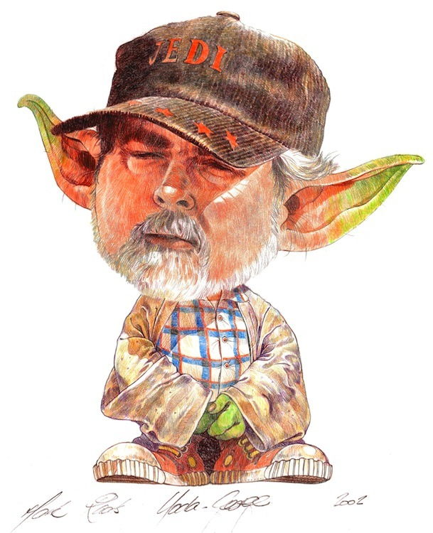 Yoda and George Lucas STAR WARS Art Mashup