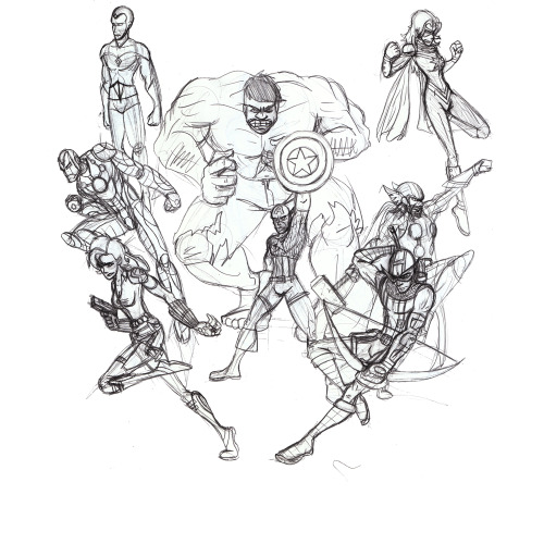 Avengers WIP. Because, of COURSE I couldn't go a week without drawing me some friggin' Avengers. So I really dig the line up for the movie (minus Hawkeye's costume), but I wanted to add in my two personal favourite Avengers, The Vision, and Ms Marvel/Captain Marvel. I'm saying she'd be Ms. Marvel here because I find it weird to have two captains on a team, but if it were up to me, Captain Marvel would be leading the current Avengers.