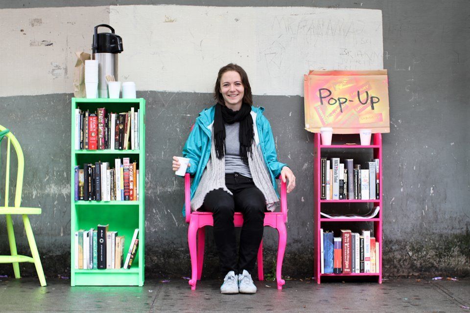 humansofnewyork:  Unemployed librarian employs herself by collecting donated books and setting up make-shift libraries around Brooklyn. Proving that you may need a company to provide you a job, but being unemployed is a personal decision.