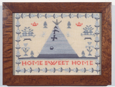 Elaine Reichek.  Sampler (Home Sweet Home). Reichek's embroideries on view at the Whitney Biennial through May 27th.  Milk&HoneyArt