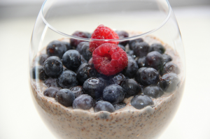 "Chia seed pudding! Doesn't it look awesome? It's super-easy and healthy too. It's the best idea, I can't wait to try it. I put chia seeds in my oatmeal every morning but I haven't graduated to making it into dessert! The ""recipe"" is more like general instructions so you can get creative. Just soak your chia in yumminess (like almond milk), add whatever spices you want, and soak it overnight! BOOM! Try it and tell us if it's awesome or if the author's just good with Photoshop! Also, why are there vegan recipes on a psychology blog?"