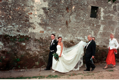 In Veneto, it is customary for the couple getting married to walk to the wedding chapel together. This is quite unusual because normally it is considered bad luck for the bride to be with the groom before they meet at the altar. The townsfolk will then place obstacles in the bride's path to see how she will react to domestic situations. If she picked up a broom, for example, she will keep a clean house. If they put a child in her way and she stopped to help him/her, she will be a good mother. In some regions, the bride and groom must cut a log in half before they reach the wedding site, using a double handled saw. This demonstrates their partnership in love and marriage.  CAN I JUST BE ITALIAN ALREADY?!?!!