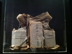 A prop life jacket used for the 1953 film version Titanic produced by Charles Brackett. The movie contained many inaccuracies, but was still received well with audiences due to the fact it was focused on being a melodrama more than a historical drama. Many survivors wrote to Brackett requesting to be involved with the film, but Brackett wanted no input from survivors. Only for Walter Lord's book-turn-film version of A Night to Remember three years later would survivor's actual accounts & advice be used.
