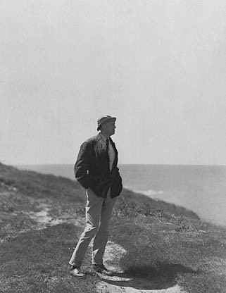 Edward Hopper photographed on Cape Cod. Hopper liked to work alone and sometimes painted while sitting in his Buick, his watercolor board propped against the steering wheel. Completely Costal  Photo Archive of American Art