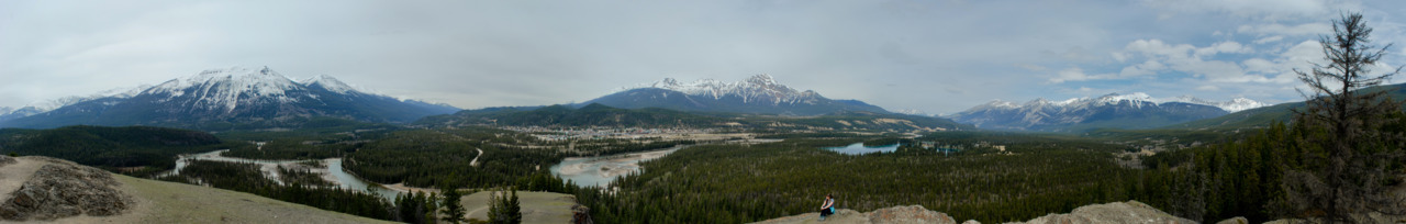 We walked up  to Old Fort Point in Jasper National Park the other day. The view from the top was fantastic.