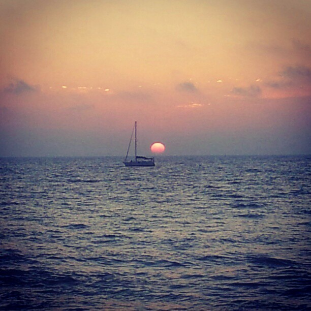 #telaviv #israel #sunset #namal #sunset #boat  (Taken with Instagram at נמל תל אביב The Port Of Tel Aviv)