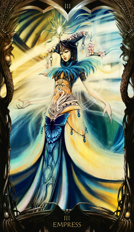 Tarot: Empress by =Tsabo6 Despite waking up at least half a dozen times last night, I slept fairly well.  Dreams ranged from a trip to Miami where the hotel was comprised solely of swimming pools, to a tense tarot reading in a tiny bathroom in which the same card was revealed over and over again.