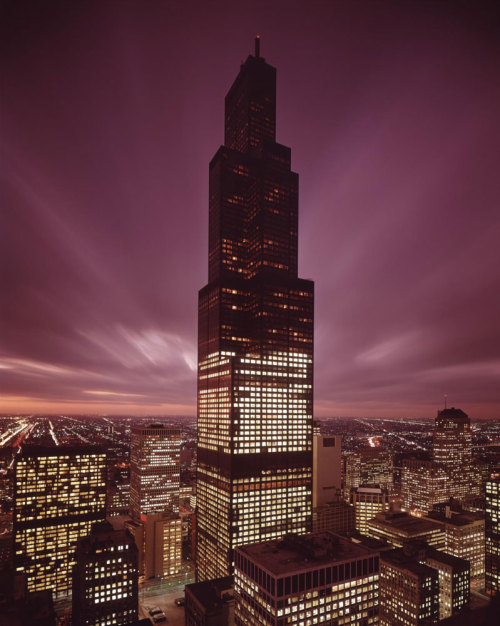 The Sears Tower, now Willis Tower, at dusk in 1973. Photograph from Hedrich-Blessing. Want a copy of this photo?> Visit our Rights and Reproductions Department and give them this number: HB-37734-A Connect with the Museum