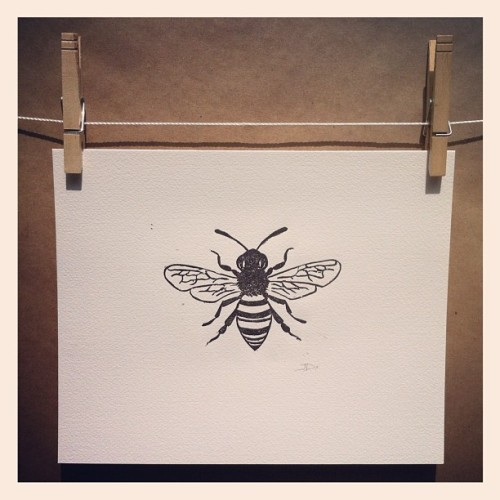 "Honeybee linocut print This honeybee was hand carved from a linoleum block and hand printed with black ink on 8""x10"" watercolor paper. Because each print is pulled individually by hand, no two are exactly alike."