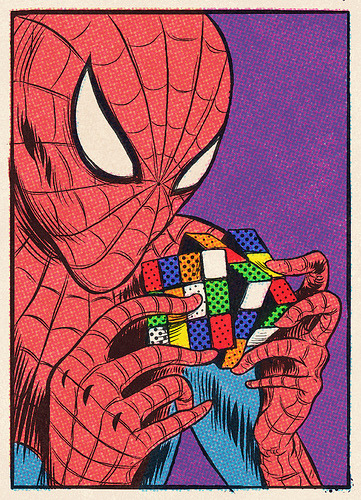 44oz:  Spiderman is playing with a Rubik cube (by s9txe)