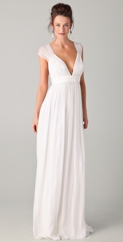 Simple and flowy — a lovely wedding gown style.