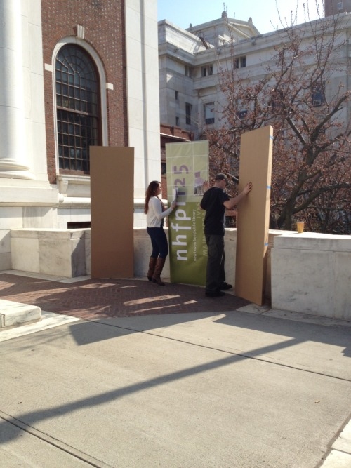 setting up our life-sized exterior signage mock ups for the Brand Launch at the New Haven Free Public Library!