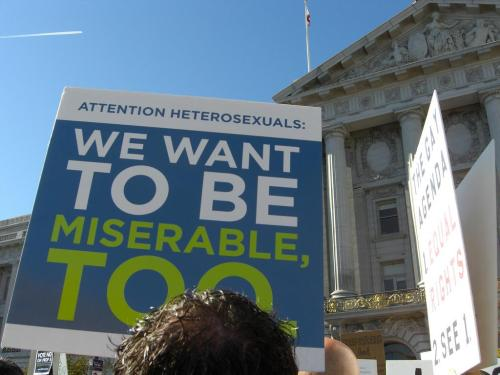 A 2008 sign endorses same-sex marriage. What's it like to be a gay Mormon in Utah? Read Jennifer Sinor's essay Out in the West, published in The American Scholar, Autumn 2011. (Photo by SFist)