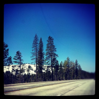 Still snow on peaks - I-80 leaving Tahoe (Taken with instagram)