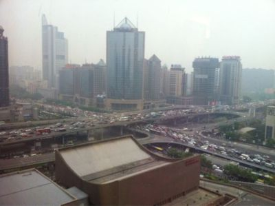 Ananth Krishnan's photo of Friday rush-hour traffic on Beijing's third ring road, at Guomao. Megan Shank's chapter in Chinese Characters chronicles China's growing car culture and one entrepreneur's attempt to capitalize on it.