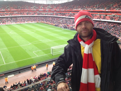 Jeff Cutter at the Arsenal match against Norwich! Huge treat for him to be able to attend while on a job in London!