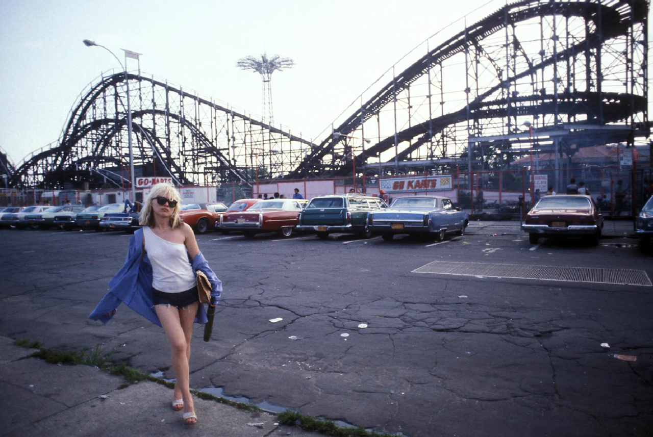 Debbie Harry at Coney Island photographed by Bob Gruen