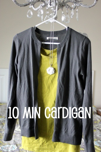 DIY 10 Minute Cardigan from Sweater Last Season's Sweater = This Season's Cardigan! via Vanilla Joy