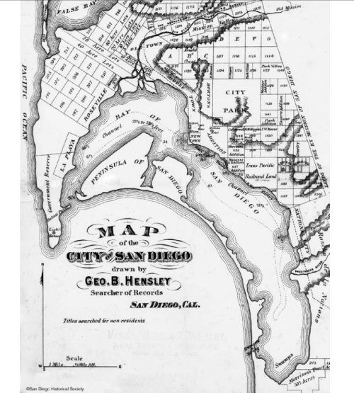 """thenobelexperiment:  Map of San Diego. Note that Mission Bay was once called """"False Bay"""" San Diego, Ca. 1873"""