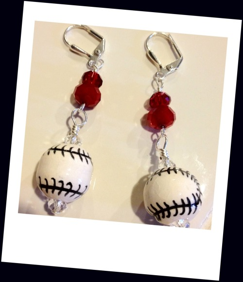 Calling all baseball fans…Check out my latest design! Baseball earrings to show team spirit! Available at http://etsy.com/shop/Lalunacreations  More colors coming soon!