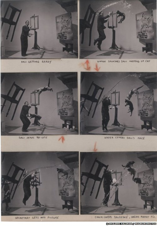 "The contact sheet for Philippe Halsman's iconic photograph ""Dali Atomicus"" (1948) via:BBC News"