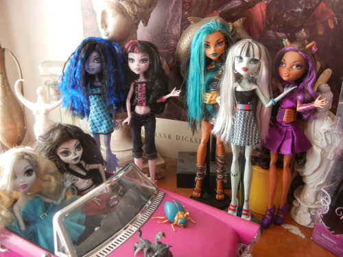 My unopened dolls vs my opened ones. Pathetic huh? lol Well, if you consider that on Layaway I currently have: An Operetta for me Lagoonas Hydration station Abbey (for the Kids birthday) Rochelle (for the kid) Jackson (she gets all the good shit :[ ) Dead Tired Ghoulia Dead Tired Cleo Dead Tired Draculaura Werewolf CAM Draculauras Coffin Bed 1600 Frankie, Clawdeen and Draculaura (no way I'm buying two each of those- WE'RE SHARIN!!!) This, boys and girls, is the face of Addiction (And the Rochelle is going to a good home soon :)