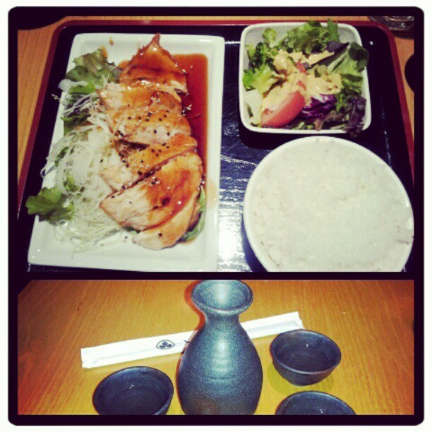 #lunch #teriyaki #japanese #food #lilxurious #sake (Taken with instagram)
