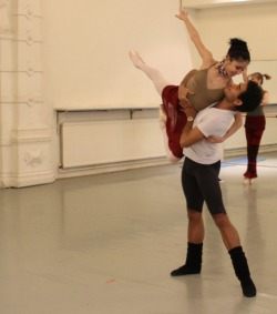 danseurprincipal:  Venus Villa and Jonah Acosta, Nutcracker rehearsal for English National Ballet